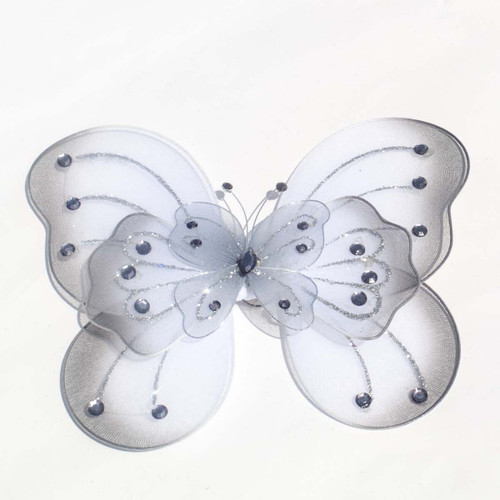 "8"" Silver Large Wired Organza Butterfly - Pack of 10"