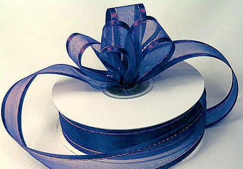 """7/8""""x25 yards Navy Blue Organza Satin Edge with Gold/Silver Trim Gift Ribbon - Pack of 7 Rolls"""