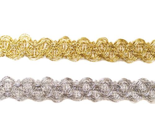 """3/4""""x 20 Yards Wholesale Metallic Lace Trim - 5 Packs Metallic Trim"""