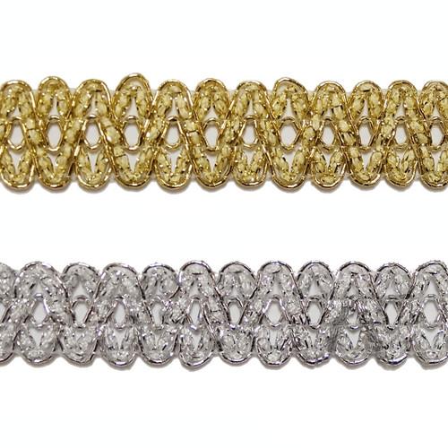 """3/4""""x 20 Yards Metallic Lace Trim - 5 Packs Metallic Trim"""