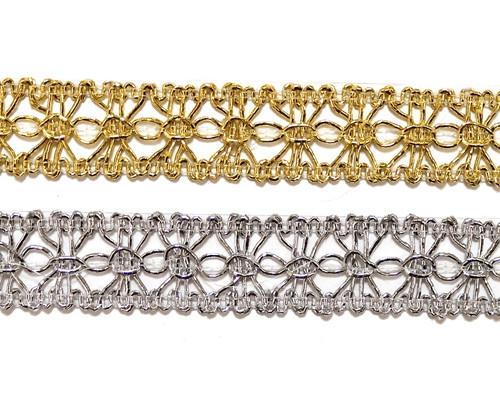 """3/4""""x 20 Yards Metallic Lace Trim - 5 Packs Metallic Trim 1"""