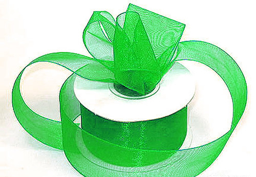 "1.5""x25 yards Apple Green Organza Sheer Gift Ribbon - Pack of 5 Rolls"