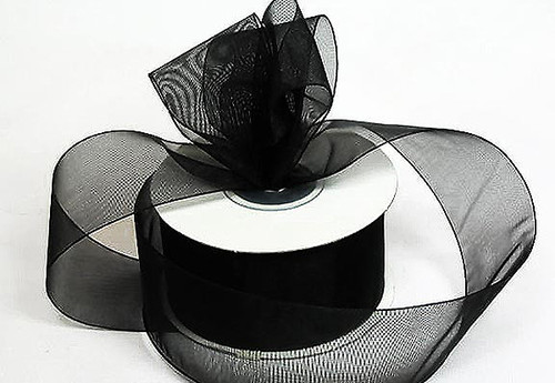 "1.5""x25 yards Black Organza Sheer Gift Ribbon - Pack of 5 Rolls"