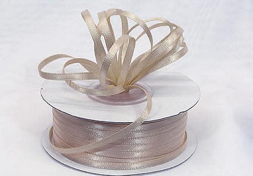 "1/8""x100 yard Tan Polyester Satin Gift Ribbon - Pack of 10 Rolls"