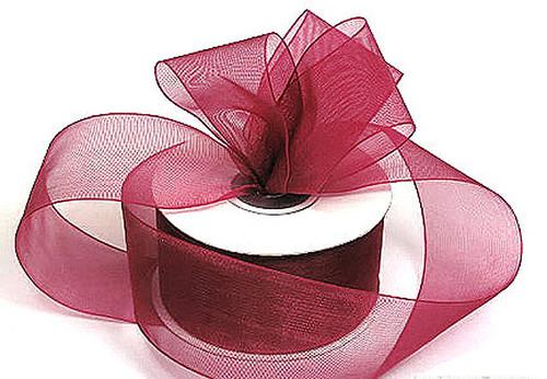 "1.5""x25 yards Burgundy Organza Sheer Gift Ribbon - Pack of 5 Rolls"