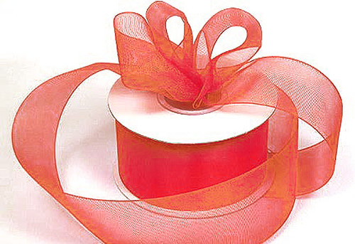 "1.5""x25 yards Coral Organza Sheer Gift Ribbon - Pack of 5 Rolls"