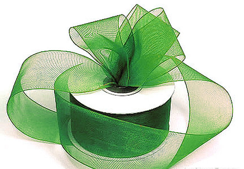 "1.5""x25 yards Emerald Organza Sheer Gift Ribbon - Pack of 5 Rolls"