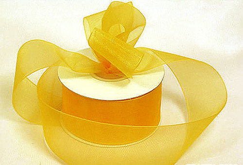 "1.5""x25 yards Gold Yellow Organza Sheer Gift Ribbon - Pack of 5 Rolls"