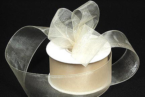 "1.5""x25 yards Ivory Organza Sheer Gift Ribbon - Pack of 5 Rolls"