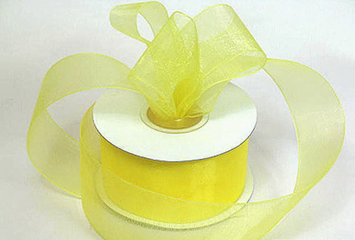 "1.5""x25 yards Light Yellow Organza Sheer Gift Ribbon - Pack of 5 Rolls"