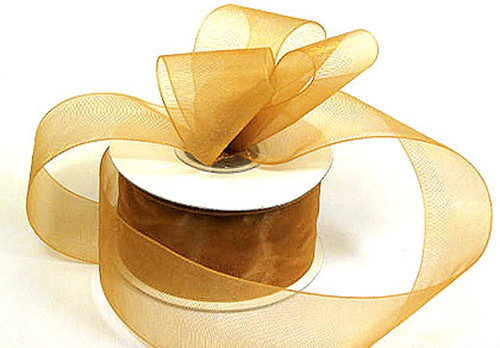 "1.5""x25 yards Old Gold Organza Sheer Gift Ribbon - Pack of 5 Rolls"