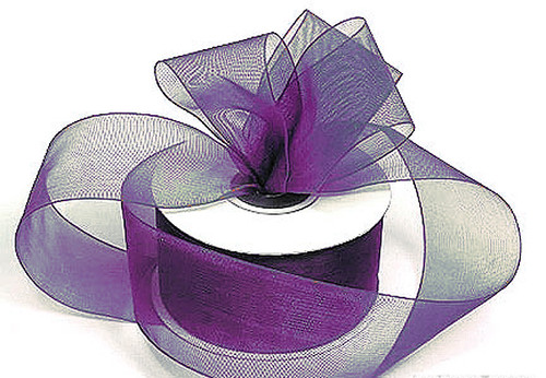 "1.5""x25 yards Purple Organza Sheer Gift Ribbon - Pack of 5 Rolls"
