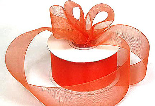 "1.5""x25 yards Orange Organza Sheer Gift Ribbon - Pack of 5 Rolls"