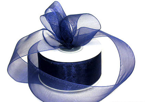 "1.5""x25 yards Navy Blue Organza Sheer Gift Ribbon - Pack of 5 Rolls"