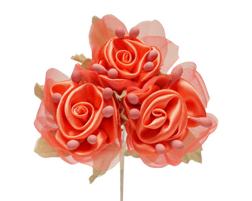 "2"" Coral Satin Silk Flowers with Leaves - Pack of 36"