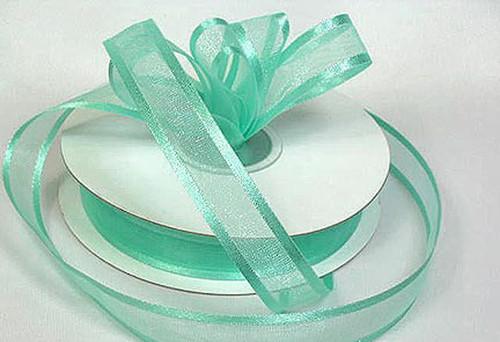 "3/8""x25 yards Mint Green Organza Satin Edge Gift Ribbon - Pack of 15 Rolls"