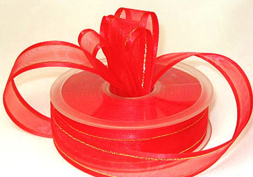 """3/8""""x25 yards Red Organza Satin Edge with Gold/Silver Trim Gift Ribbon - Pack of 15 Rolls"""