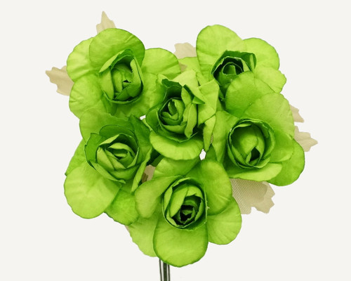 "1.25"" Apple Green Big Rose Paper Craft Flowers - Pack of 72"