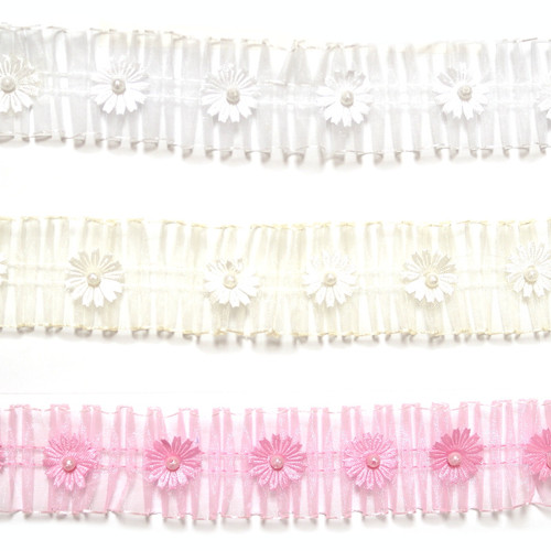 """1.5""""x10 Yard Pink Organza Lace Trim with Flowers and Pearl"""