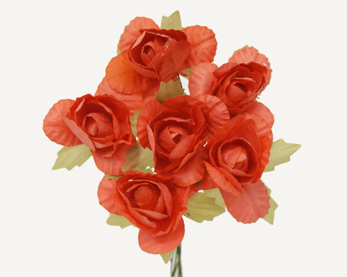 "1.25"" Coral Big Rose Paper Craft Flowers - Pack of 72"