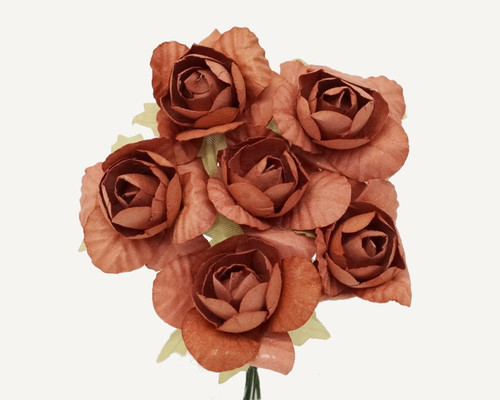 "1.25"" Brown Big Rose Paper Craft Flowers - Pack of 72"