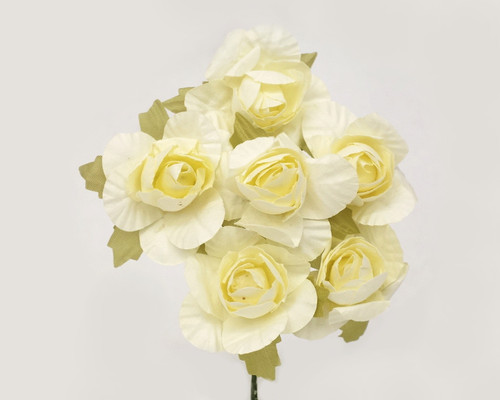 "1.25"" Ivory Big Rose Paper Craft Flowers - Pack of 72"