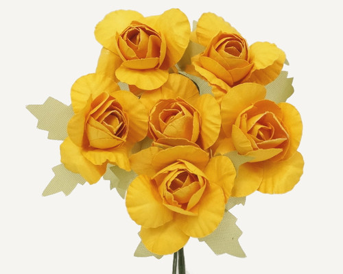 "1.25"" Gold Yellow Big Rose Paper Craft Flowers - Pack of 72"