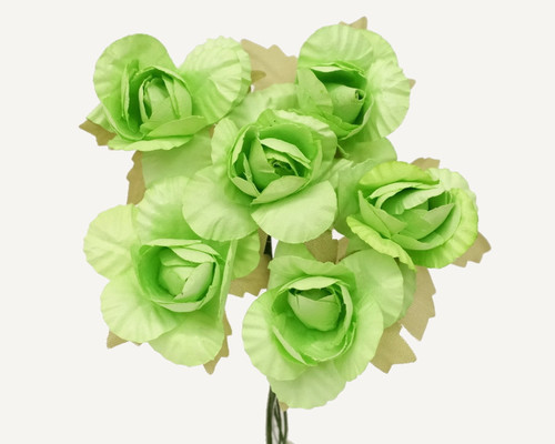 "1.25"" Mint Green Big Rose Paper Craft Flowers - Pack of 72"