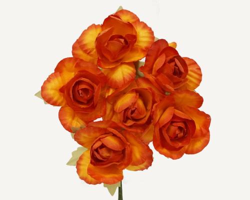 "1.25"" Orange Big Rose Paper Craft Flowers - Pack of 72"