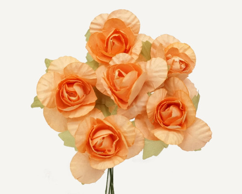 "1.25"" Peach Big Rose Paper Craft Flowers - Pack of 72"