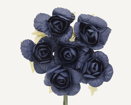 "1.25"" Navy Blue Big Rose Paper Craft Flowers - Pack of 72"