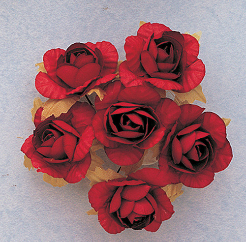 "1.25"" Red Big Rose Paper Craft Flowers - Pack of 72"