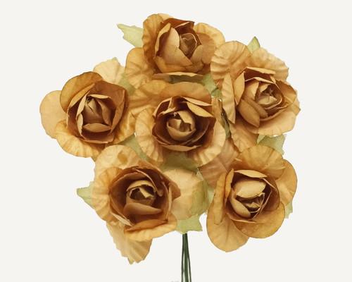 "1.25"" Tan Big Rose Paper Craft Flowers - Pack of 72"