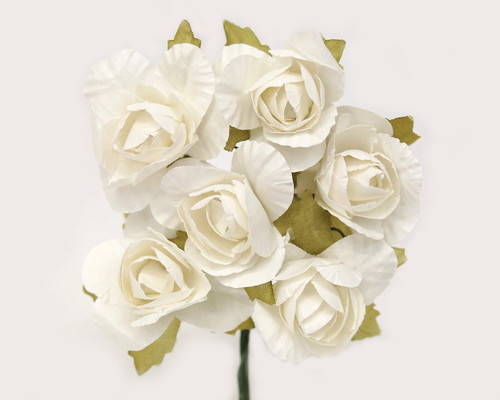 "1.25"" White Big Rose Paper Craft Flowers - Pack of 72"