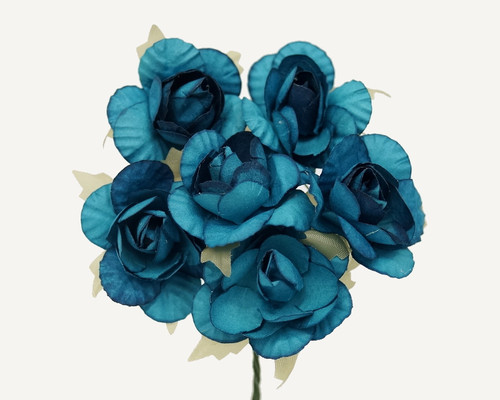 "1.25"" Turquoise Big Rose Paper Craft Flowers - Pack of 72"