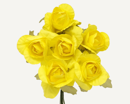 "1.25"" Yellow Big Rose Paper Craft Flowers - Pack of 72"