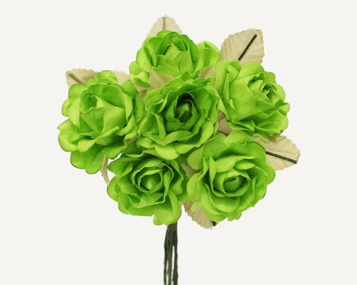 "1"" Apple Green Big Rose with Leaf Paper Craft Flowers - Pack of 72"