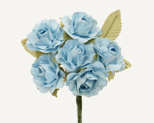 "1"" Light Blue Big Rose with Leaf Paper Craft Flowers - Pack of 72"