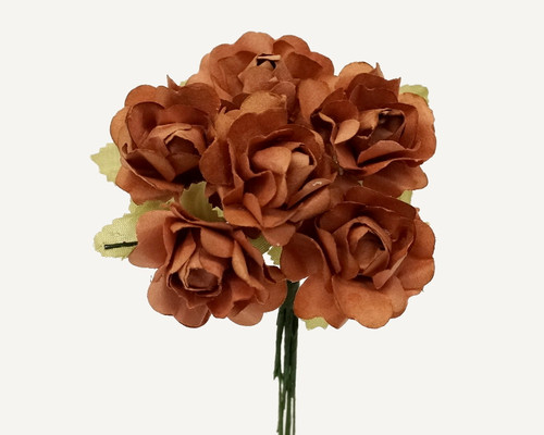 "1"" Brown Big Rose with Leaf Paper Craft Flowers - Pack of 72"
