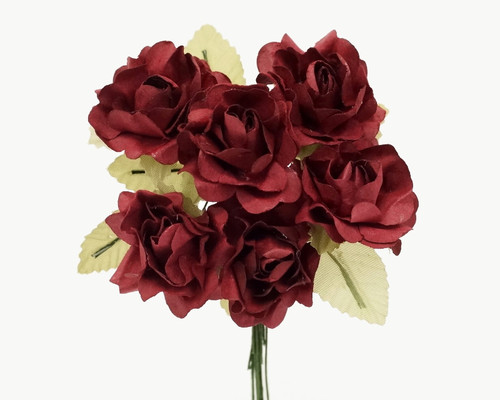 "1"" Burgundy Big Rose with Leaf Paper Craft Flowers - Pack of 72"