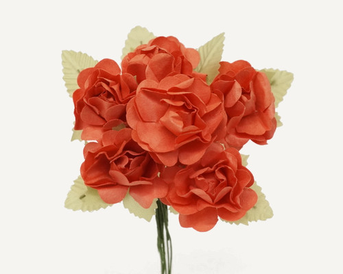 "1"" Coral Big Rose with Leaf Paper Craft Flowers - Pack of 72"