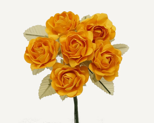 "1"" Gold Yellow Big Rose with Leaf Paper Craft Flowers - Pack of 72"