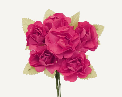 "1"" Fuchsia Big Rose with Leaf Paper Craft Flowers - Pack of 72"