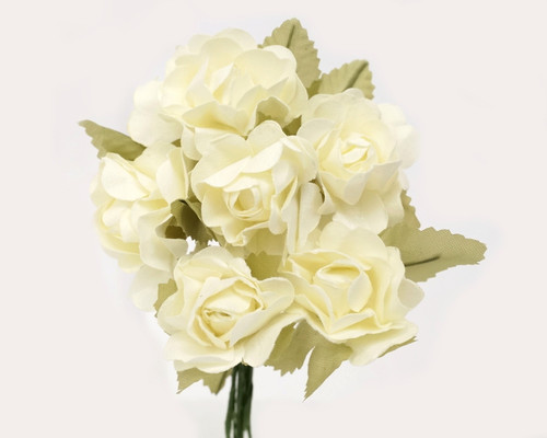 "1"" Ivory Big Rose with Leaf Paper Craft Flowers - Pack of 72"