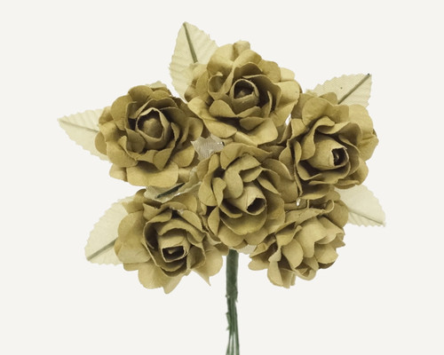"1"" Olive Big Rose with Leaf Paper Craft Flowers - Pack of 72"