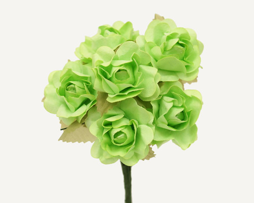"1"" Mint Green Big Rose with Leaf Paper Craft Flowers - Pack of 72"