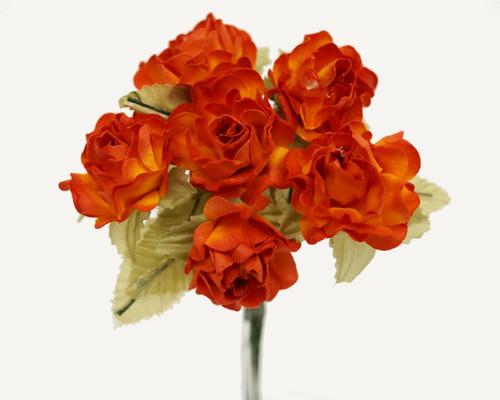 "1"" Orange Big Rose with Leaf Paper Craft Flowers - Pack of 72"