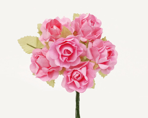 "1"" Pink Big Rose with Leaf Paper Craft Flowers - Pack of 72"