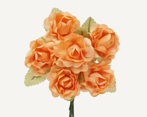 "1"" Peach Big Rose with Leaf Paper Craft Flowers - Pack of 72"