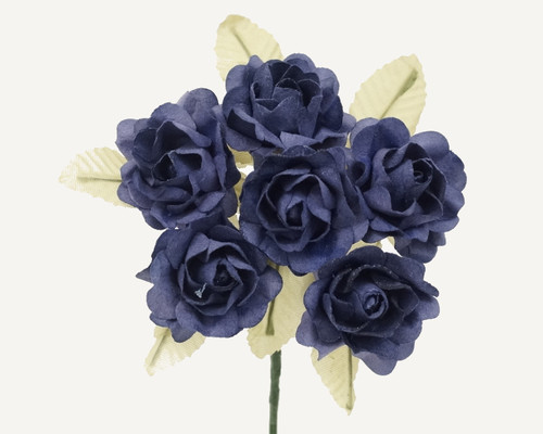 "1"" Navy Blue Big Rose with Leaf Paper Craft Flowers - Pack of 72"